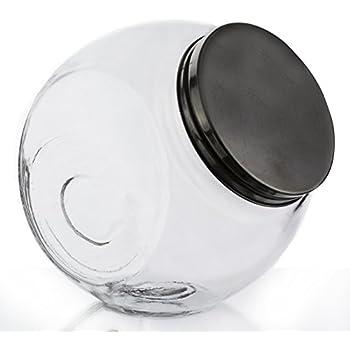 Amazon Com Glass Slant Jar Food Storage With Metal Lid