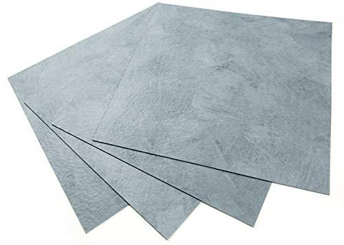 ROSEROSA Peel and Stick Engineered PVC Tiles Stone Concrete Pattern Durable Vinyl Flooring (ECK-203 : Square 4 Tiles)