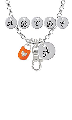 Hot Orange Enamel Lock - Hot Orange Enamel Lock with Clear Crystals Custom Initial Badge Clip Necklace