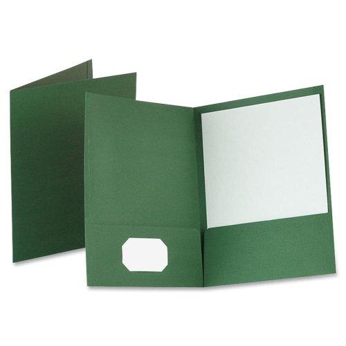 Wholesale CASE of 5 - Esselte Linen Twin Pocket Portfolios-Linen Twin Pocket Portfolio, 25/BX, Dark Green