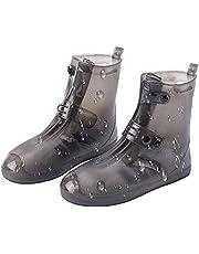 Uymaty سيليكون ضد الماء، أحذية خارجية من السيليكون، زوج أحذية ضد الانزلاق من السيليكون مضادة للماء تغطي أحذية سميكة مقاومة للاهتراء أحذية المطر أنبوب متوسط للرجال والنساء (4XL: 11-12)