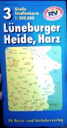 Lüneburger Heide Harz 1   200 000. RV  Karte.  7225 164 . Bremen Hamburg Hannover.   Große RV  Straßenkarte 3 .