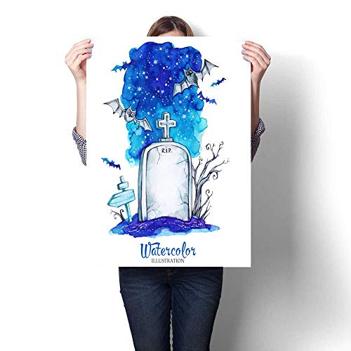 Anshesix Wall Art Canvas Prints Hand Painted Old Gravestone at Halloween s Night Spooky Landscape Print Paintings for Home Wall Office Decor 32