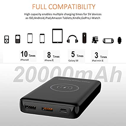Compatible avec Apple IPHONE 8 X X Max Max et Samsung Galaxy powerbank powerbank sans Fil 20000MAH Charge Rapide Charge 18W Charge 4 T/ÉL/ÉPHONES 2 Ports USB 1 Micro USB BETTERSHOP /™ CERTIFI/É QI