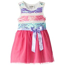Rare Editions Little Girls' Striped-Spangle Mesh Dress