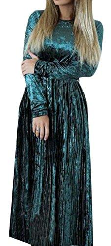 Grande Saveur Des Femmes De Manches Longues Haute Balançoire Base Ceinture Verte Robe Plissée Midi
