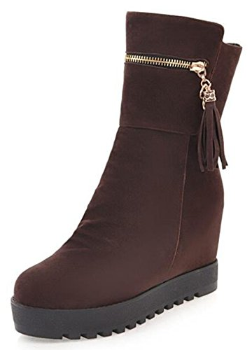 IDIFU Womens Comfy Mid Hidden Wedge Heels Platform Pull On Faux Suede Riding Ankle Boots Brown POA7T0