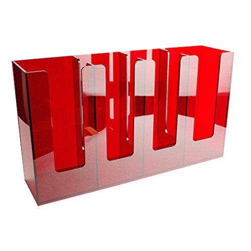 Fenteer Coffee Cup & Lid Sleeve Dispenser Cup Holder 4 Stacks for Restaurant Red, Black #2 - Red by Fenteer