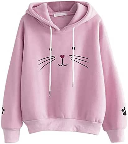 Fashion Women Top Cat Printing Shirt Long Sleeve Sweatshirt Casual Loose Blouse Hooded Pullover Hoodies Tunic
