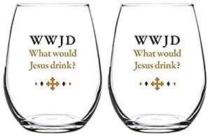 WWJD What Would Jesus Drink? Stemless Wine Glass, 17 oz, Set of 2