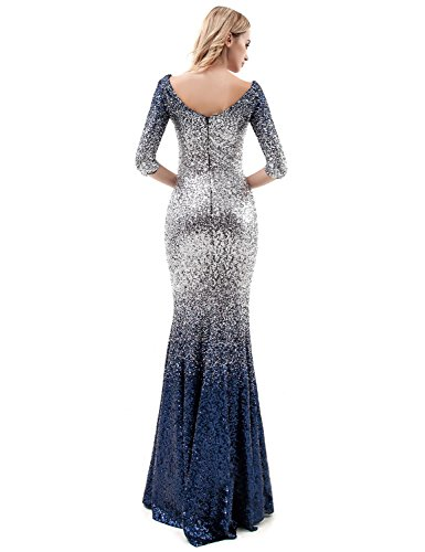 5a75f9f298d2 Home Brands DarlingU DarlingU Women s 3 4 Sleeves Mermaid Sequins Prom  Evening Dress Formal Party Gown Black   Silver 4.   