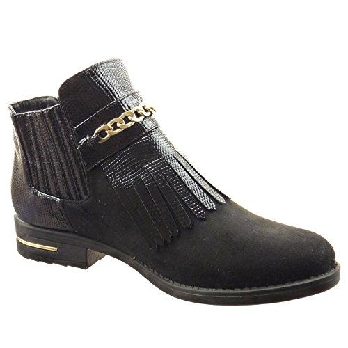 Sopily - Zapatillas de Moda Botines chelsea boots Tobillo mujer piel de serpiente cadena metálico Talón Tacón ancho 3 CM - plantilla Forrada de Piel - Negro
