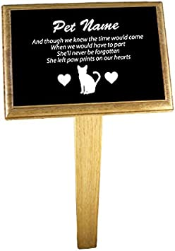 Female notts laser Personalised Cat Memorial Plaque with optional Oak Backing Board and Ground Stake Plaque, Backing Board /& Ground Stake