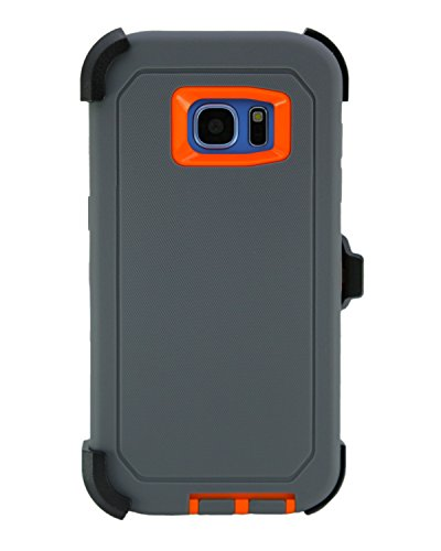 WallSkiN Turtle Series Cases for Samsung Galaxy S7 Edge (Only) Tough Protection with Kickstand & Holster - Charcoal (Grey/Orange)