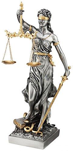Figura la Justicia, diosa romana del Derecho con báscula y richtsc hwert 21 cm