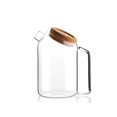 1PCS jarra de vidrio con corcho tamiz de vidrio jarra resistente al calor gran capacidad jugo olla fría hervidor de vidrio de borosilicato TIE Pot agua hirviendo tetera de agua,M: Bricolaje y herramientas