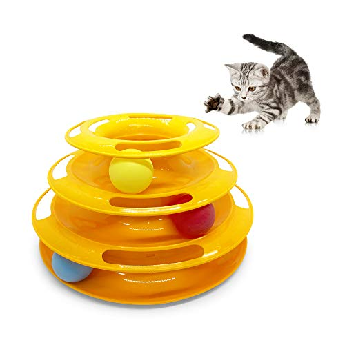 Pet Craft Supply Interactive Cat & Kitten Three Layer Colorful Track Ball Tower Fun Mental Stimulation Physical Exercise Puzzle Cat Toys from Pet Craft Supply