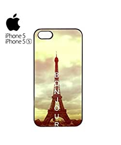 Bonjour Paris Eiffel Tower Mobile Cell Phone Case Cover iPhone 5&5s White