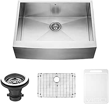 vigo 30 inch farmhouse apron single bowl 16 gauge stainless steel kitchen sink - Kitchen Sink Tools