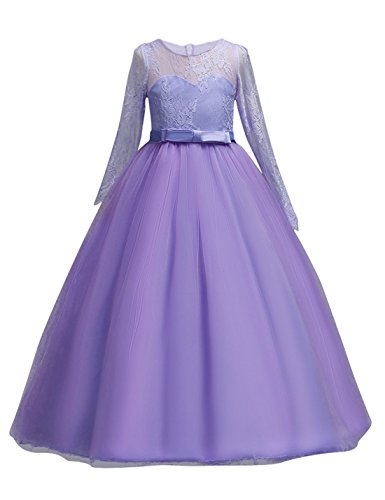 DOCHEER Fancy Girls Dress Tulle Lace Wedding Bridesmaid Ball Gown Floor Length Dresses 4-14 Years (1022 Purple, 11-12 Years)]()