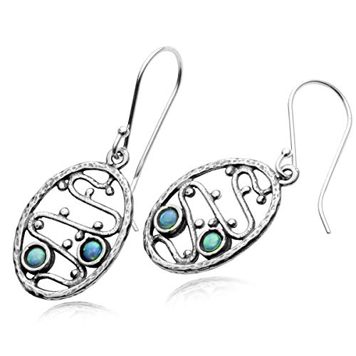 (Unique Design Oval 925 Sterling Silver Dangle Earrings with Created Blue Fire Opal)