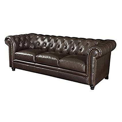 Amazon.com: BOWERY HILL Leather Button Tufted Sofa in Dark ...