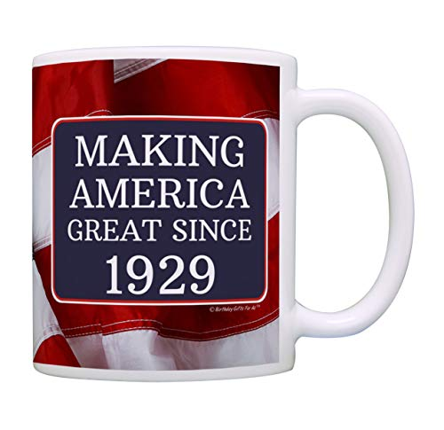 90th Birthday Gifts For All Making American Great Since 1929 Birthday Gift Coffee Mug Tea Cup USA Flag]()