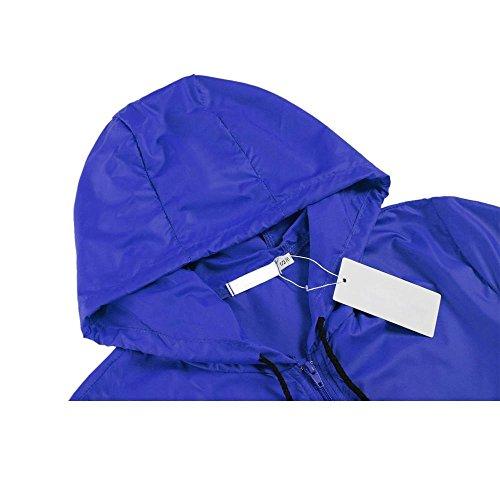 antipioggia con leggero donna cooshional Reale cappuccino coulisse Giacca Blu impermeabile orlo qtwAx6ExCn