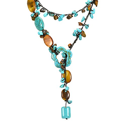 AeraVida Lariat Glam Simulated Turquoise & Tiger's Eye & Brown Mother of Pearl on Cotton Wax Rope Wrap Y-Necklace from AeraVida