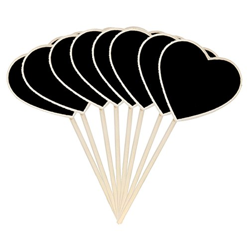 Wood Chalkboard Plant Tag,Heart Plant Tags,KINGLAKE Wooden Stakes Plant Labels Blackboard Garden Tags,10 - Stake Black