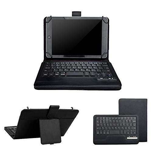eTopxizu Keyboard Case for 7-8 Inch Universal Tablet,2-in-1 Wireless Detachable Removable Bluetooth Keyboard Leather Travel Windows Android iOS Carrying Cases Cover Holder Folio+Stand(Black)