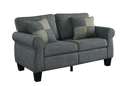HOMES: Inside + Out IDF-6328GY-LV Eleanor, Loveseat, Dark Gray