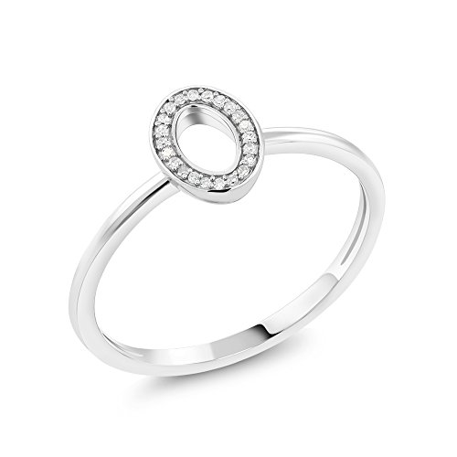 Gem Stone King 10K Solid White Gold White Diamond Oval Shaped Engagement Ring 0.033 cttw, I-J Color, I1-I2 Clarity (Size 5)