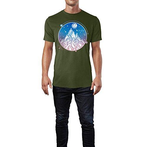 SINUS ART ® Handgemaltes Gebirge bei Nacht Herren T-Shirts in Armee Grün Fun Shirt mit tollen Aufdruck