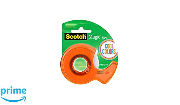 Scotch - Dispensador, colores Cool y 1 rollo cinta Scotch Magic, colores azul, rosa, naranja y verde: Amazon.es: Oficina y papelería