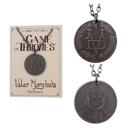 Grrm Costume (Valar Morghulis Necklace - Stainless Steel Coin on Gunmetal Chain)