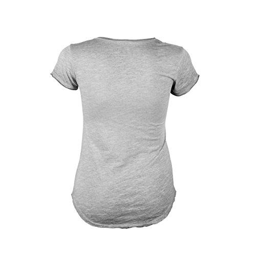 Señoras camiseta con rhinestone-details gris claro