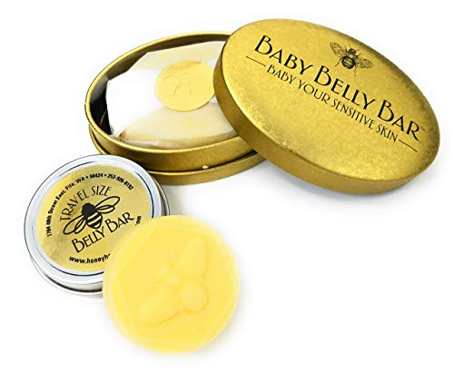 Honey House Naturals Belly Bar Duo - Travel Belly Bar .6 ounce and Baby Belly Bar 1.7 ounce - All-Natural Ultra Moisturizing Lotion Bar Infused with Essential Oils And Butters - Made in the USA (Belly Honey House)