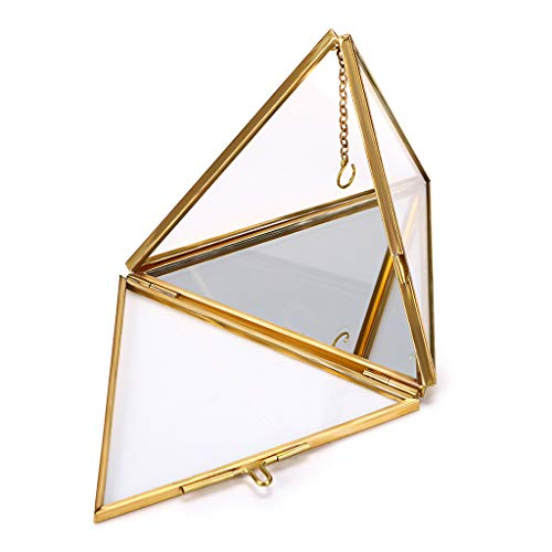 Hipiwe Jewelry Ring Display Holder - Pyramid Ring Holder Geometric Glass Ring Jewelry Box Wedding Ring Bearer Gift Box Hanging Prism Ring Stand Proposal Ring Display - Box Pyramid