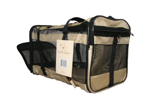 Airline Compliant Pet Carrier For Small Dogs Cats  Comfortable Mesh Ventilation  Carry Bag For Car  Air Travel  Airport Dog Carriers For Southwest  Jetblue  American Airlines More  Khaki Oxford
