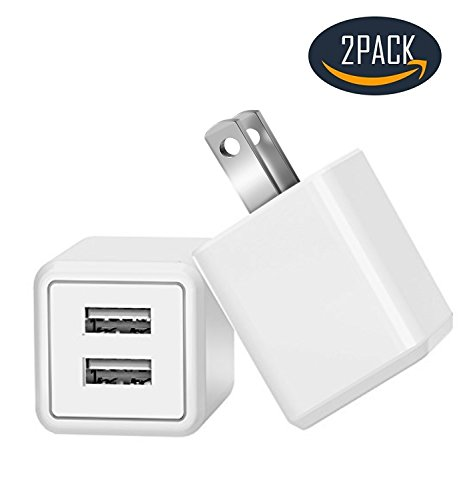 Charger, Charging 2.4A Universal Dual Adapter 2-Port USB Portable Travel Adapter Power Charger for iPhone, iPad, Samsung Galaxy, Nexus, Bluetooth Speaker Headset & Power Bank (2-Pack) (White) by Maeline