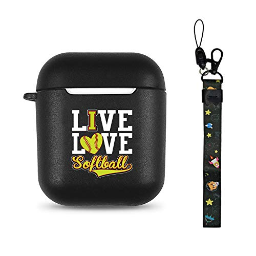 Softball Black Soft TPU Case Frosted Protective Cover Anti Fingerprints Compatible with AirPods 2 & 1 with Wristlet Strap