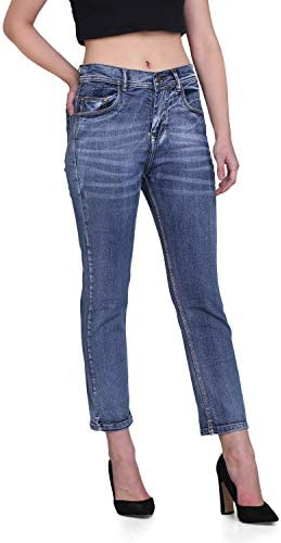 PARIS HAMILTON Womens/Girls High Waist Boy Friend fit Denim Jeans Relaxed Fit