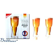 Double Wall Glass Beer Pilsner, Set Of 2 - by Brilliant