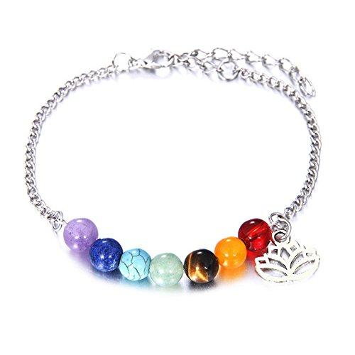 SIVITE 7 Chakra Agate Crystal Beads Bracelet Anklet Lotus Flower Pendant Yoga Healing Energy Bracelet