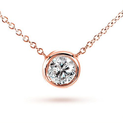 Bezel Round Moissanite Pendant - Round Moissanite Bezel Necklace 1/2 Carat 14k Rose Gold