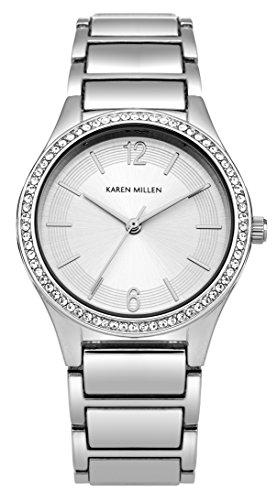 Karen-Millen-SKM003SM-Reloj-de-cuarzo-para-mujeres-con-esfera-de-plata-y-correa-plateada-de-aleacin