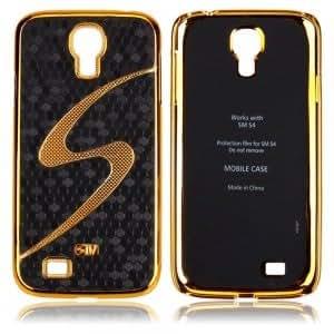 Golden Edge with S Pattern Skin Hard Case for Samsung SIV S4 I9500 Black