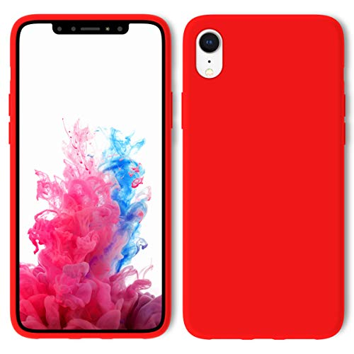 iPhone XR Case with Screen Protector Tempered Glass, Aucaeo 360 Shockproof Protective Liquid Silicone Military Grade Cases Ultra Thin Slim Raised Edge Cover for Apple iPhone XR 6.1 inch 2018, Red