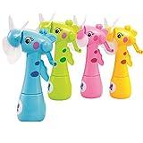 Yidartono 2018 Newest Mini Water Spray Manual Rotating Fan Cooling Mist Cartoon Animal Children Toys Portable Handheld Gadget Sport Birthday Party gift (random)